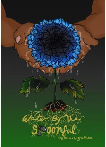 Poster for Water by the Spoonful. Graphic of hands holding a blue flower.