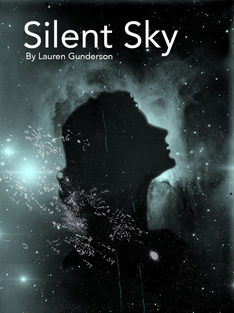 Poster for Silent Sky. A silhouette of a woman looking up at the night sky.