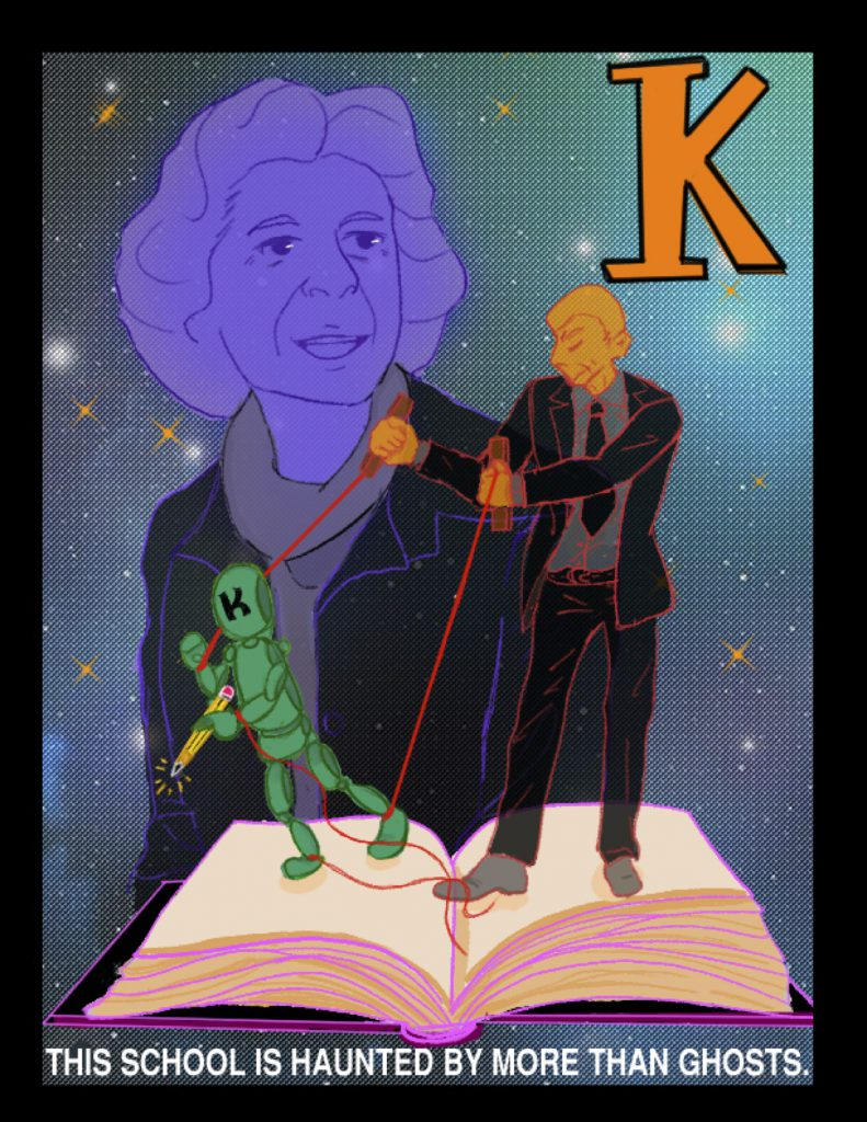 "Poster for ""K"". A man in a suit puppets a marionette atop a book."