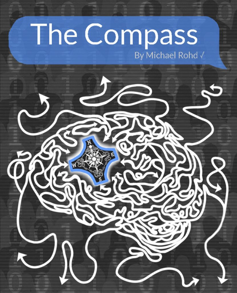 Show poster for The Compass. A compass inside of a brain drawn with white arrows.